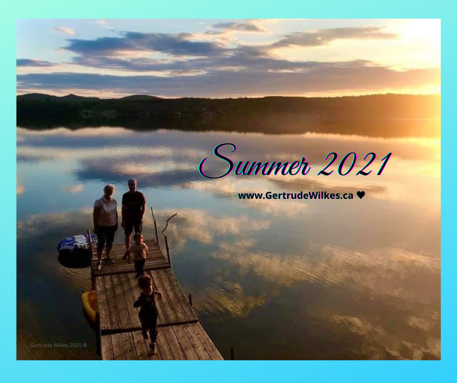 Evocative image of a couple on a dock at sunset with 2 young children running with joy. Glorious sunset with clouds reflected in the still lake.